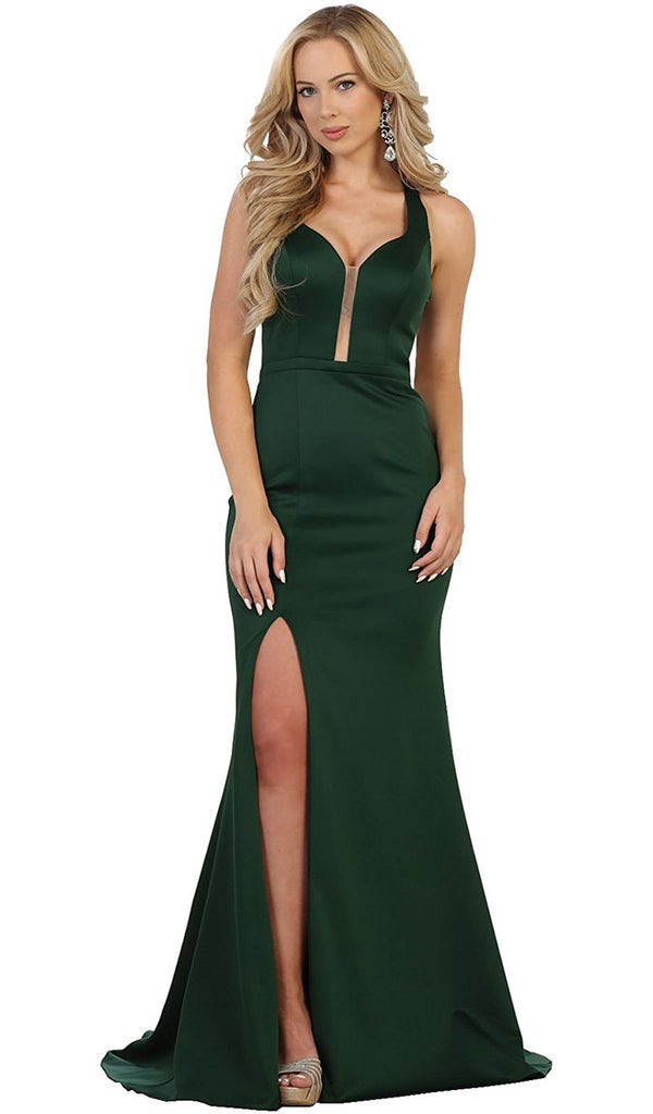 Strappy Fitted Plunging Trumpet Prom Dress