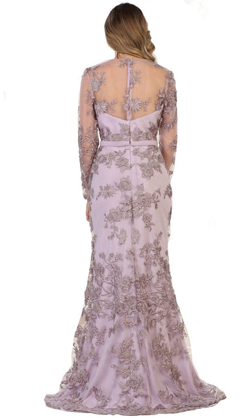 Floral Lace Illusion Bateau Sheath Evening Dress