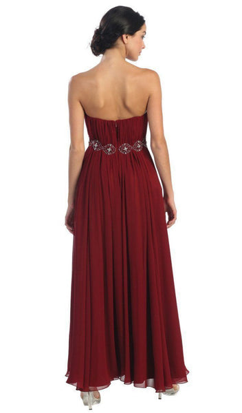Strapless Shirred Sweetheart Chiffon Evening Dress