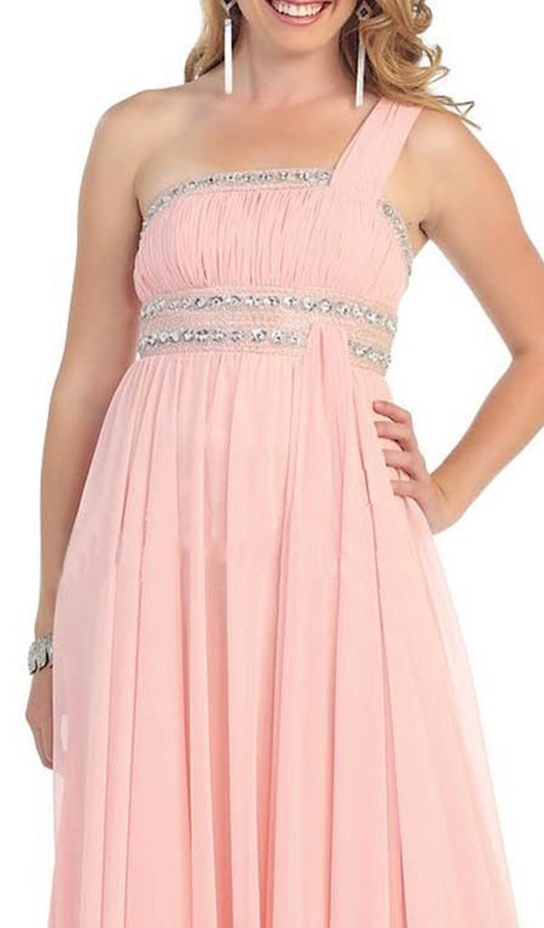 One Shoulder Strap Empire Chiffon Evening Gown