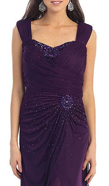 Jeweled Ruched Sweetheart High Slit Prom Dress