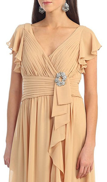Butterfly Sleeve Ruched V-Neck Draping Evening Dress - ADASA