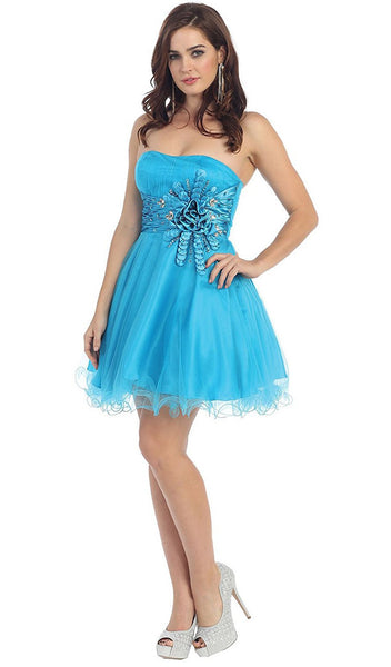 Sequined Strapless Semi-sweetheart Short Tulle Cocktail Dress