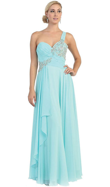 One Shoulder Strapped Sweetheart Evening Dress