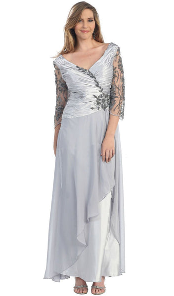 Quarter Sleeve Floral Ornate Ruched A-Line Mother of the Bride Gown