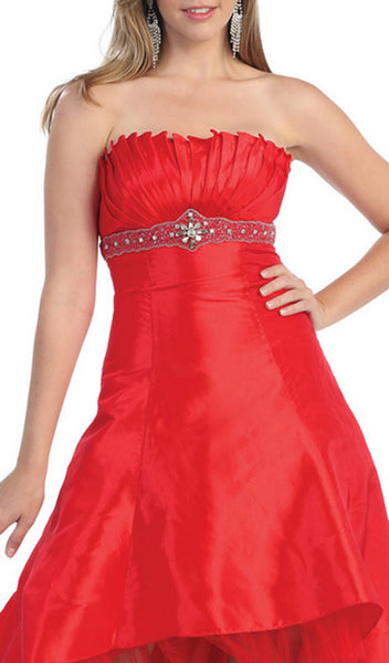 Strapless Pleated Empire High Low Prom Gown