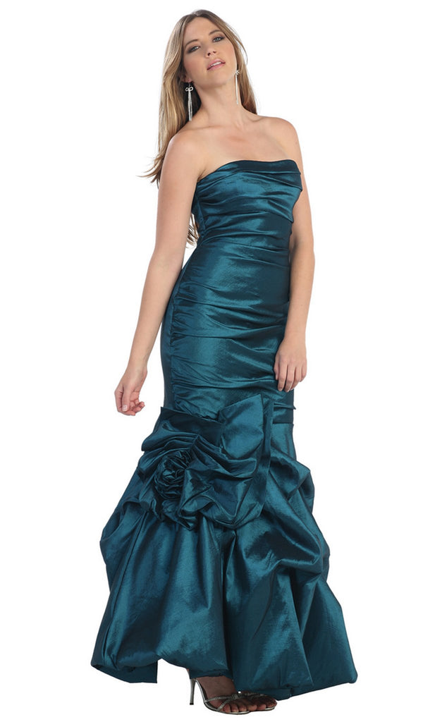 Strapless Ruched Bubble Hem Prom Dress