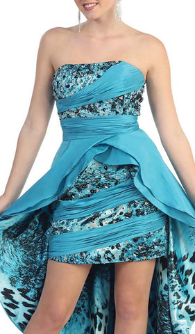 Embellished Ruched High Low Formal Dress