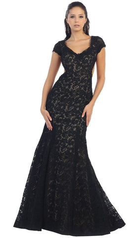 Floral Fitted Cutout Trumpet Evening Dress