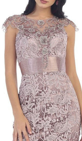 Embroidered Illusion Jewel Sheath Cocktail Dress