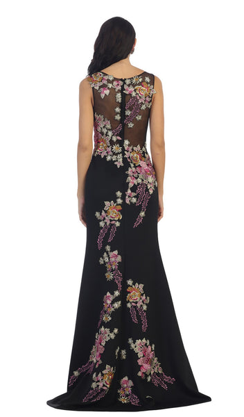 Sleeveless Side Applique Long Evening Gown