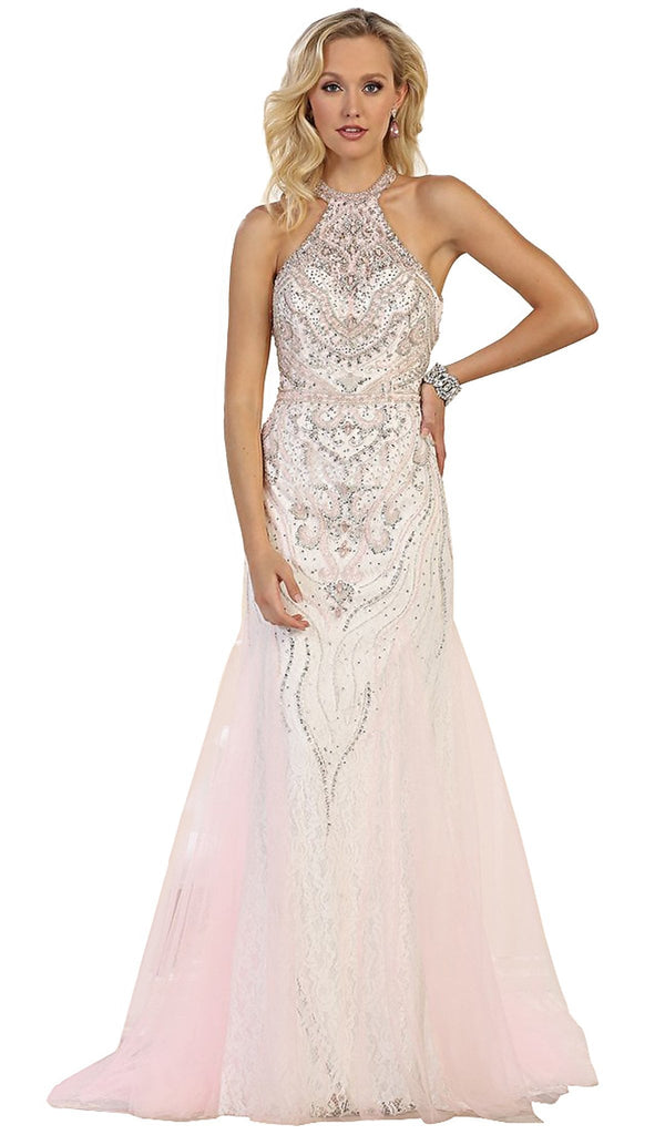 Bedazzled Halter Neck Sheath Evening Gown - ADASA