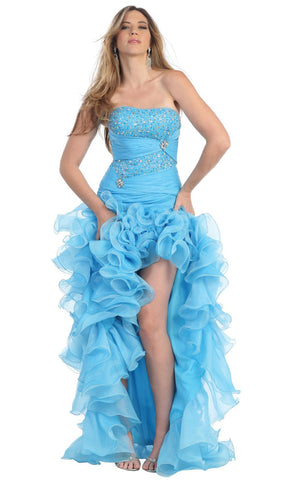 Strapless Jewel-Ornate Ruffled High Low Prom Dress