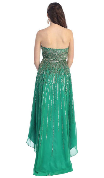 Metallic Sequined Strapless High Low Prom Gown