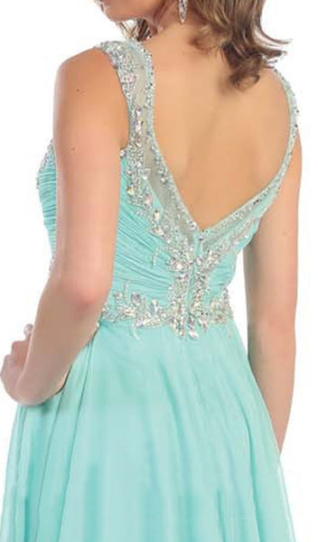 Sleeveless Ruched Ornate Evening Gown