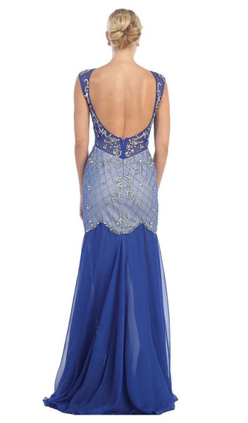 Sheer Embellished Open Back Evening Dress