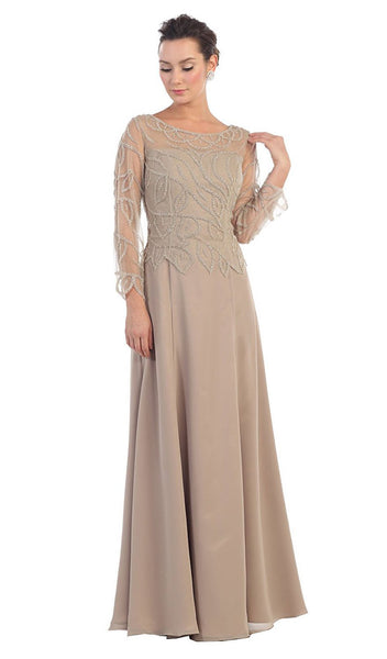 Long Sleeve Beaded Illusion Bateau Neck Evening Dress