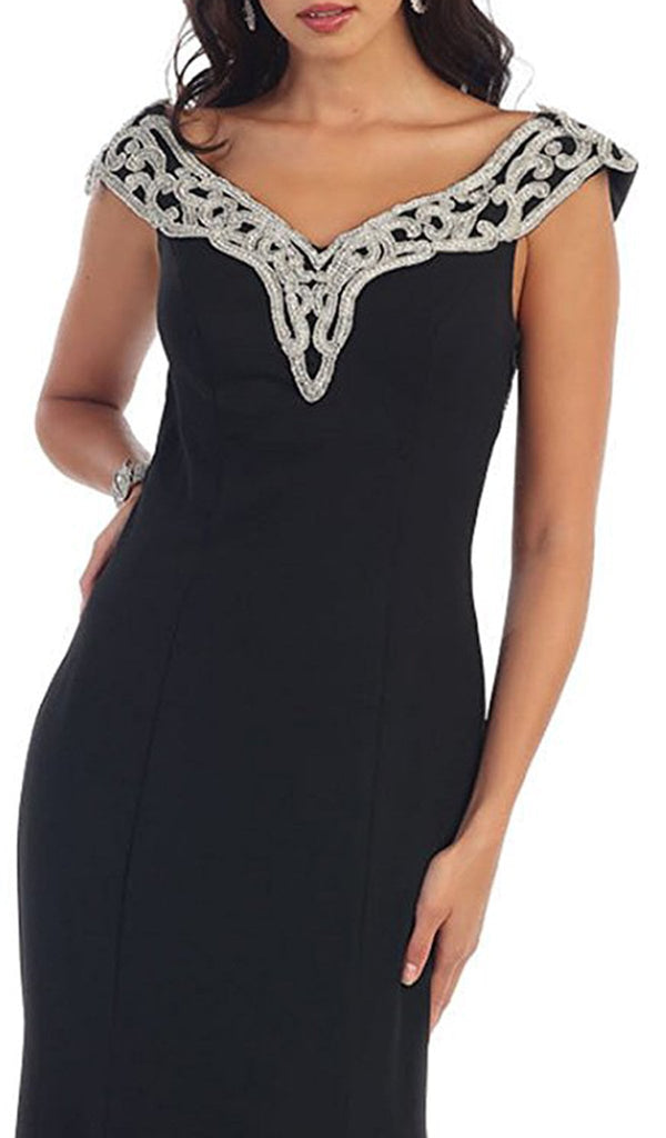 Embroidered V-Neck Column Evening Gown