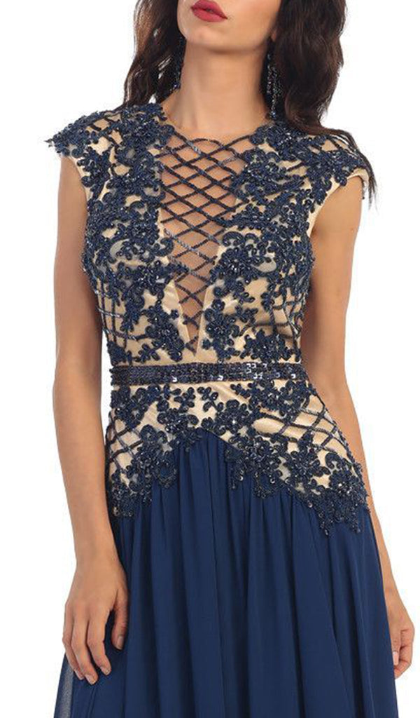 Laced Deep Illusion  V-Neck A-Line Evening Dress