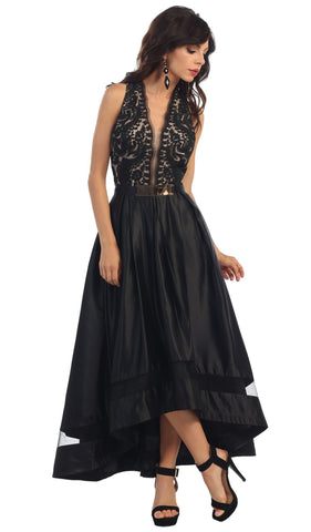 Lace Halter Neck Taffeta High Low Evening Gown