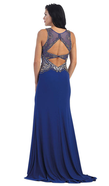 Sleeveless Beaded Illusion Prom Gown