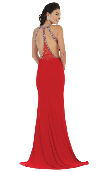 Jewel Ornate Bodice High Neck Evening Gown