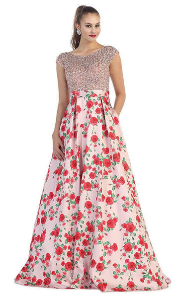 Beaded Cap Sleeve and Floral A-line Evening Dress