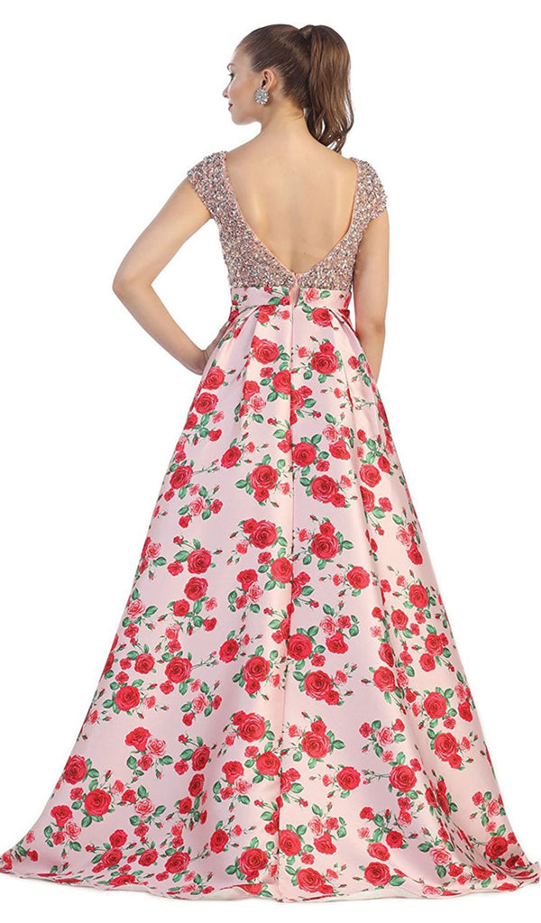 Beaded Cap Sleeve and Floral A-line Evening Dress - ADASA