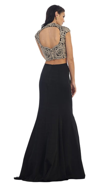 Embellished Laced High Neck Two-Piece Mermaid Evening Gown