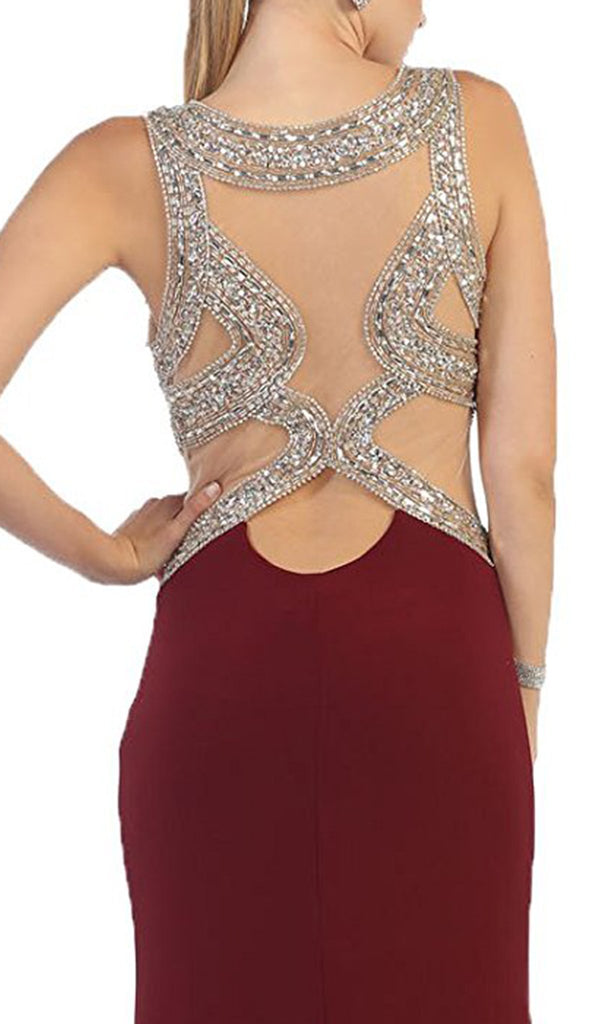Sequined and Beaded Embellished Bodice Cutout Illusion Evening Gown