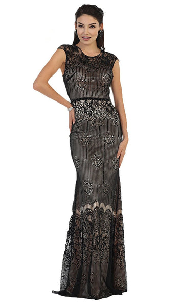 Cap Sleeve Sequined Lace Evening Gown - ADASA
