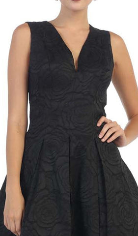 Sleeveless Jacquard High Low Cocktail Dress