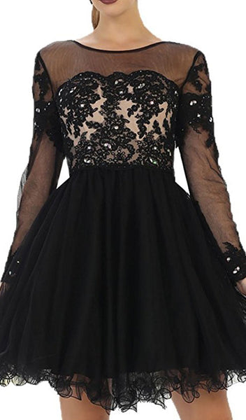 Long Sleeved Lace Party Dress