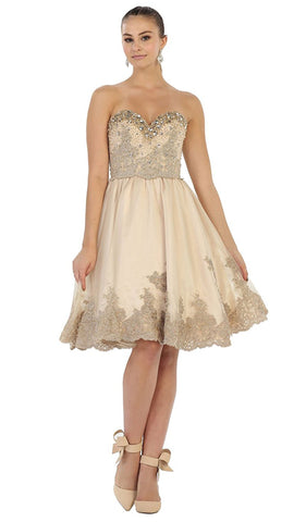 Sparkling Embroidered Sweetheart Cocktail Dress