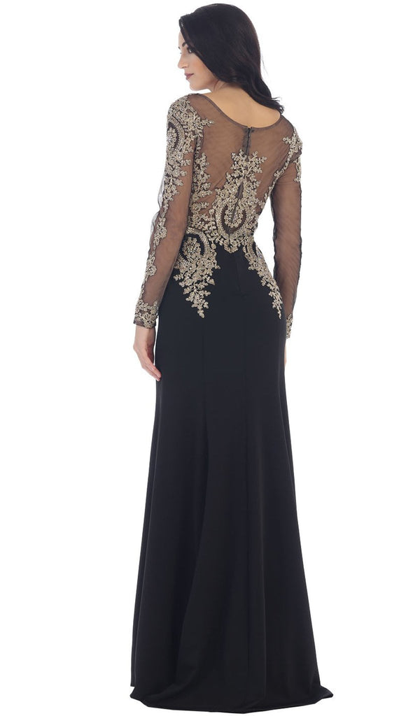 Gold Lace Illusion Scoop Sheath Prom Dress