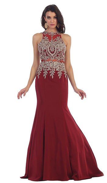 Gilt Embroidered Illusion Trumpet Prom Gown