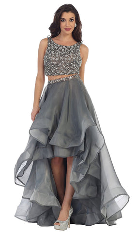 Two Piece Bateau A-line Prom Dress