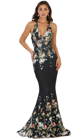 Deep V-Neck Floral Print Mermaid Evening Gown - ADASA