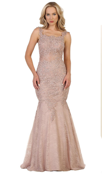 Beaded Lace Square Neck Trumpet Evening Dress - ADASA