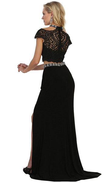 Two Piece Bedazzled Sheath Evening Dress