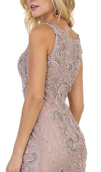 Embellished Scoop Neck Sheath Evening Dress