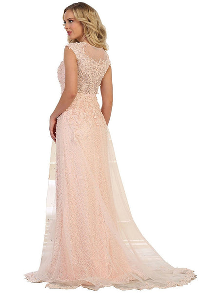 Embellished Illusion Jewel Fitted Evening Gown