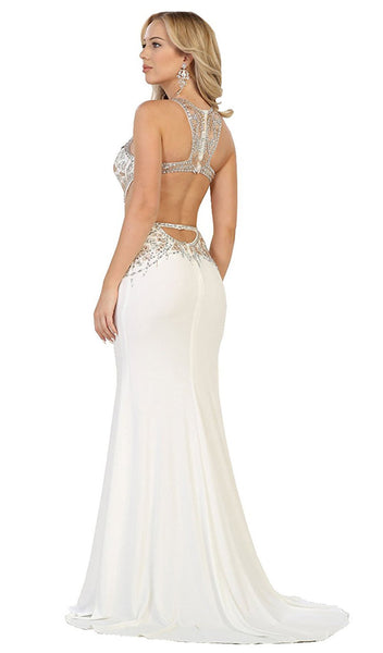Bejeweled Illusion Halter Sheath Evening Dress - ADASA