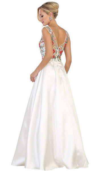 Floral Embroided V-neck Prom Ballgown