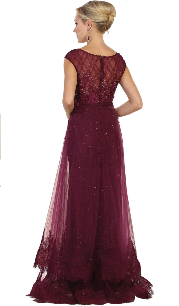 Beaded Lace Illusion Bateau Sheath Mother of the Bride Dress - ADASA