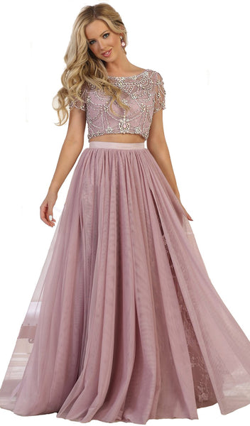 Two Piece Bedazzled Bateau Evening Ballgown