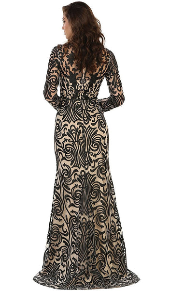 Long Sleeve Embroidered Evening Gown