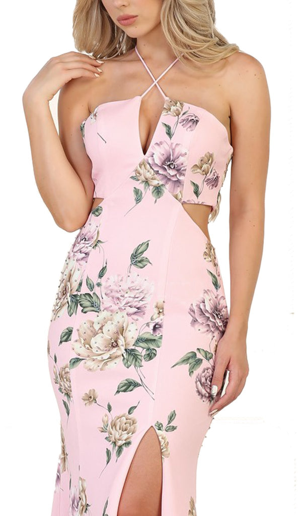 Haltered Floral Print Sheath Evening Gown with Side Slit