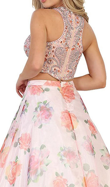 Beaded Jewel Neck Two-Piece Floral A-line Formal Gown - ADASA