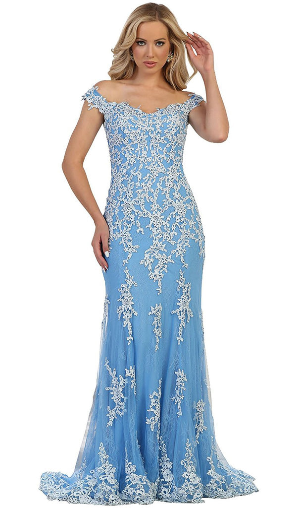 Off-Shoulder Bead Embellished Sheath Prom Gown